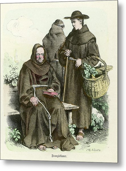 Monks Of The Order Of  Saint Francis Metal Print by Mary Evans Picture Library
