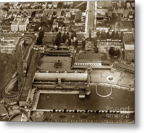 Neptune Beach Olympic Size Swimming Pool And A Roller Coaster Alameda Circa 1920 Metal Print
