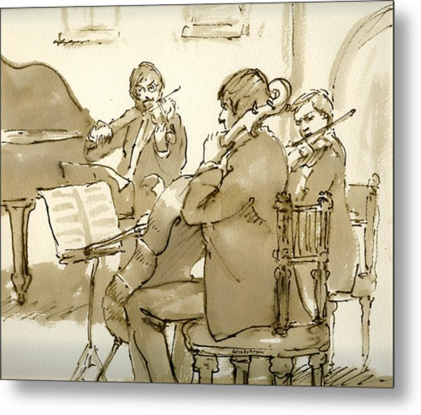 Original Pen And Ink Drawing Three Musicians In Concert Metal Print