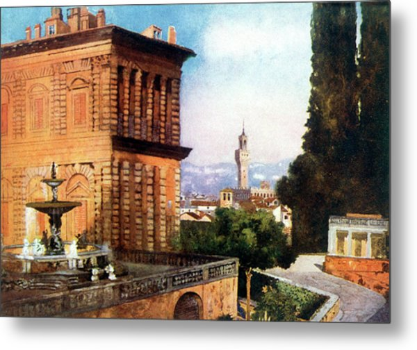 Palazzo Pitti  And Boboli Gardens Metal Print by Mary Evans Picture Library