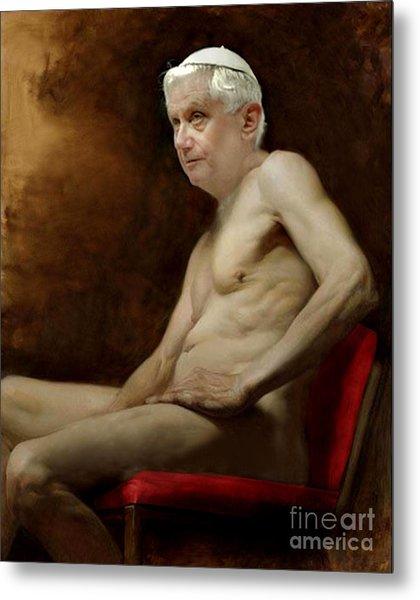 Pope Benedict Seated Nude Metal Print
