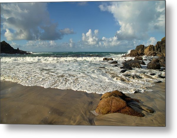 Porthmeor Cove In North Cornwall Metal Print