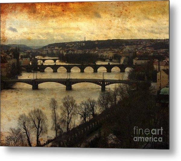 Vintage Prague Vltava River 1 Metal Print