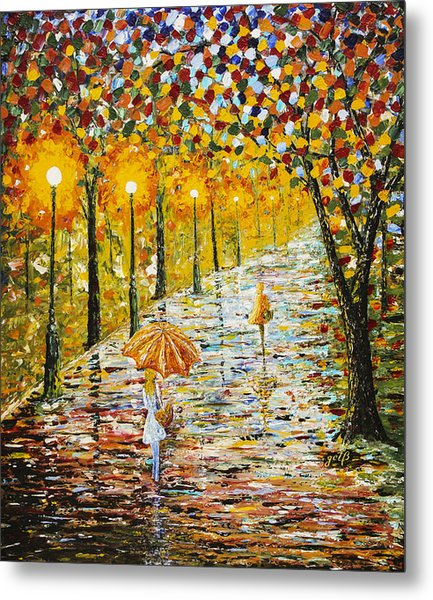Rainy Autumn Beauty Original Palette Knife Painting Metal Print