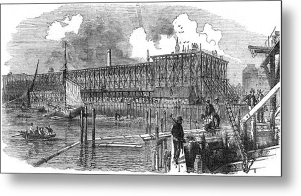 Rebuilding The Houses Of  Parliament Metal Print by  Illustrated London News Ltd/Mar