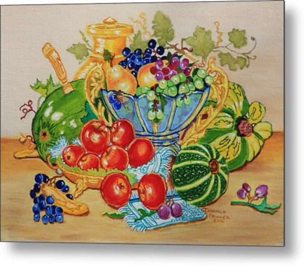 Red Apples And  Grapes Oil Painting Metal Print