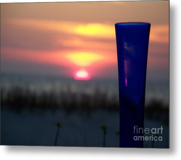 Reflections On Blue Metal Print by Sandra Starling