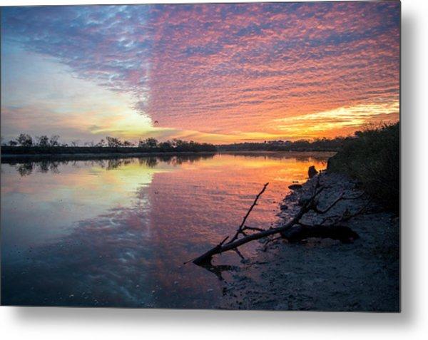 River Glows At Sunrise Metal Print