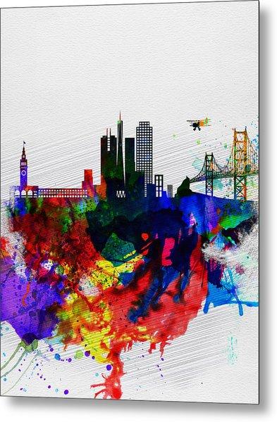 San Francisco Watercolor Skyline 1 Metal Print