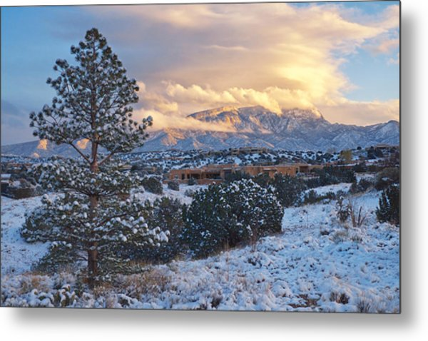 Metal Print featuring the photograph  Sandia Mountains With Snow At Sunset by Mary Lee Dereske