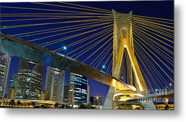 Sao Paulo's Iconic Cable-stayed Bridge  Metal Print