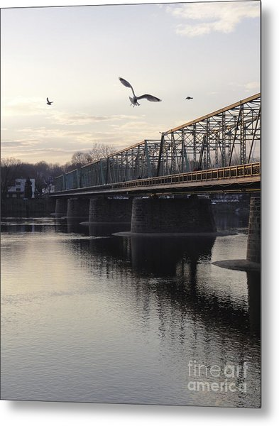 Gulls At The Bridge In January Metal Print