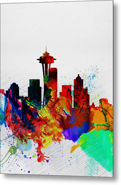 Seattle Watercolor Skyline 2 Metal Print