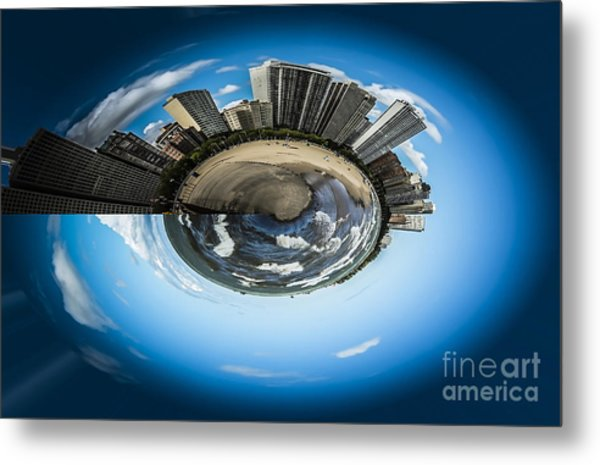 Small World Of Oak Street Beach And Lake Shore Drive In Chicago Metal Print