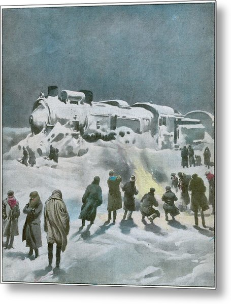 Snow Halts The Train On The Metal Print by Mary Evans Picture Library