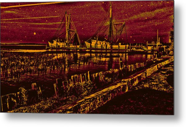 Stary Night Time At The Docks Metal Print