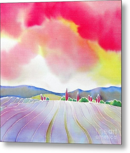 Sunset On The Lavender Farm Metal Print
