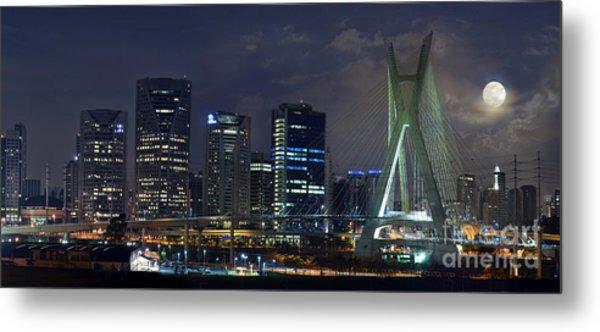 Supermoon In Sao Paulo - Brazil Skyline Metal Print
