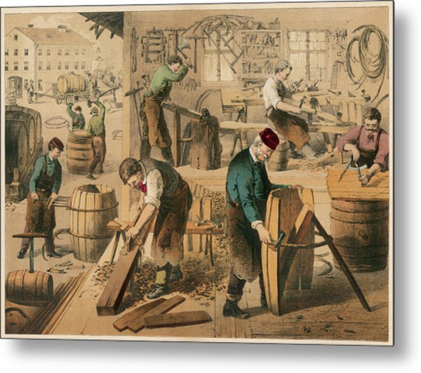 The Workshop Of A Cooper Or  Barrel Metal Print by Mary Evans Picture Library