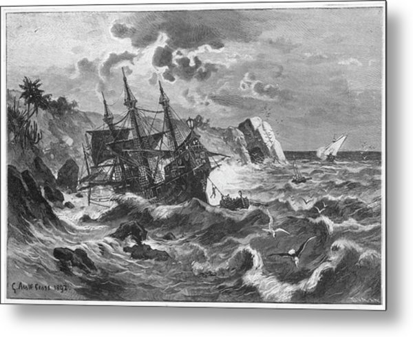 The Wreck Of The Caravel  'santa Metal Print by Mary Evans Picture Library