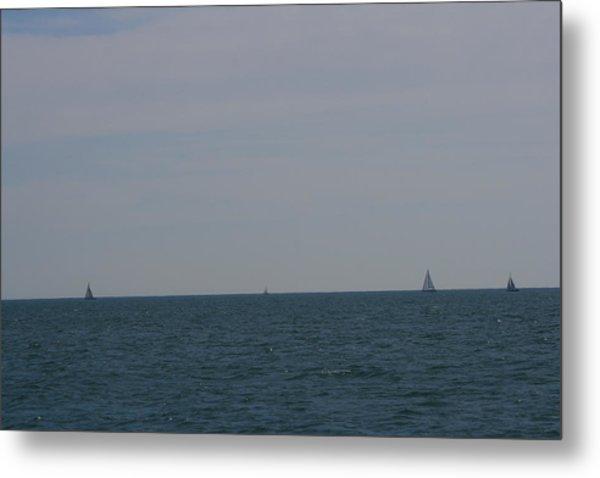 Four Yachts At Sea Metal Print