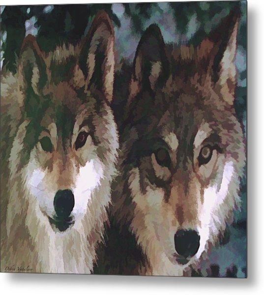 Together Forever Wolves Metal Print