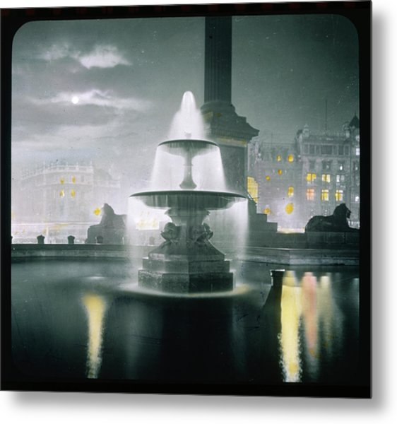 Trafalgar Square At Night  Showing Metal Print by Mary Evans Picture Library