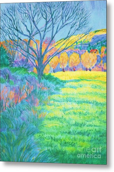 Tree In Field Painting Metal Print by Annie Gibbons