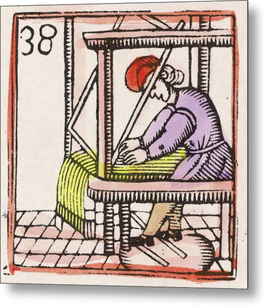 Weaving On A Loom         Date 17th Metal Print by Mary Evans Picture Library