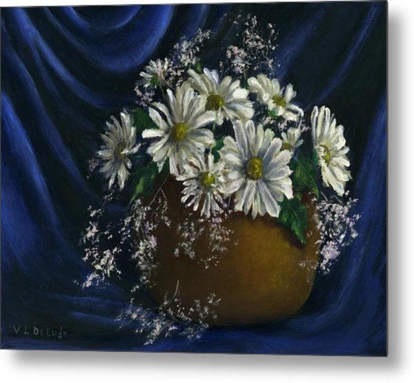 White Daisies In Blue Fabric Still Life Art Metal Print