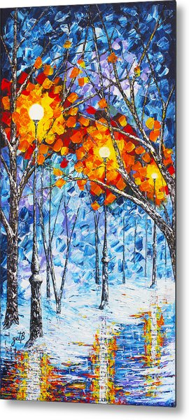 Silence Winter Night Light Reflections Original Palette Knife Painting Metal Print