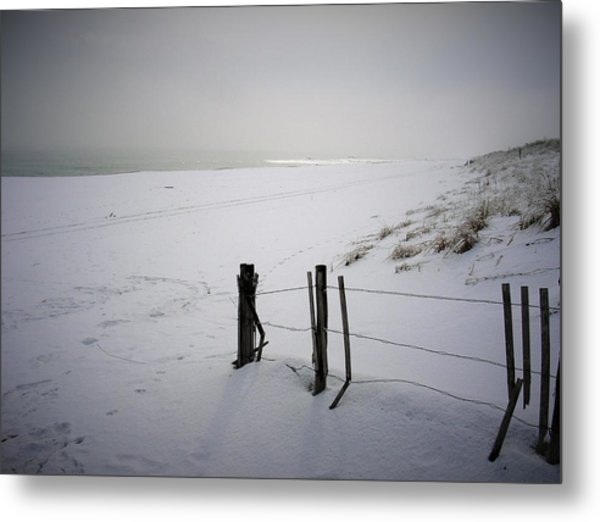 Winters Snow At Island Beach State Park Metal Print by Vincent DeLucia
