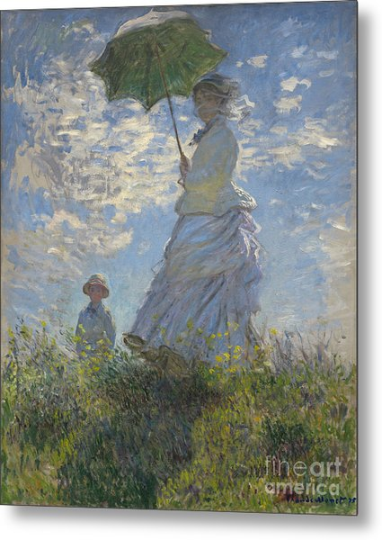 Woman With A Parasol Madame Monet And Her Son Metal Print