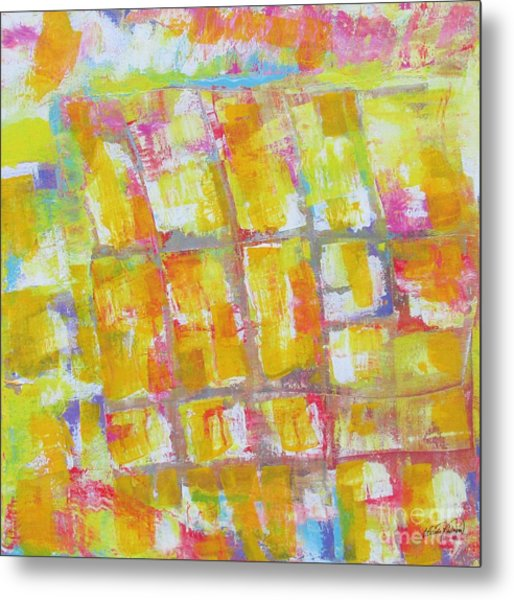 Yellow Puzzle Metal Print