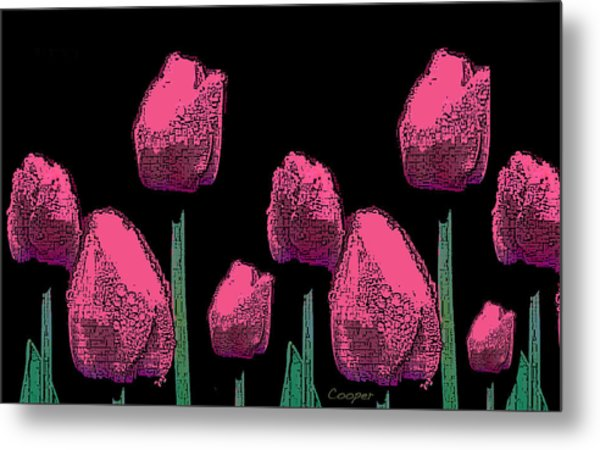 010 Hot Pink Tulips 2a Metal Print