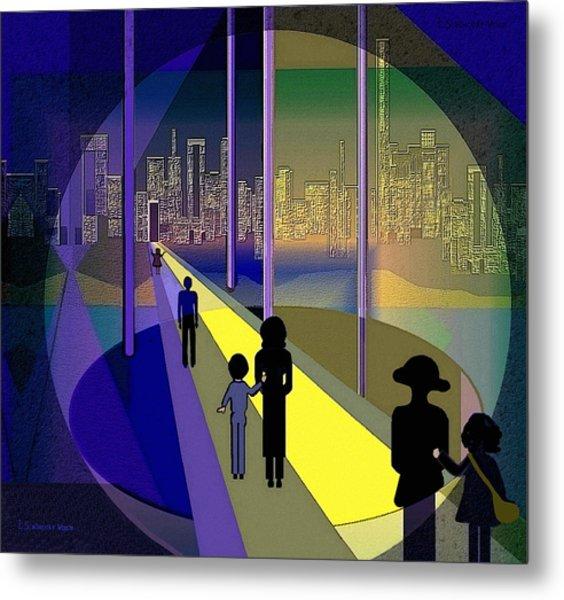 070 - Nightwalking To The Golden City    Metal Print by Irmgard Schoendorf Welch