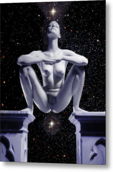 0734 Nude Woman On Star Altar Metal Print
