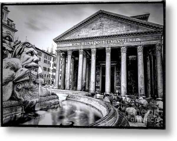 0786 The Pantheon Black And White Metal Print