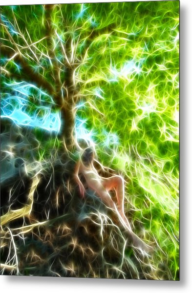 0789 Abstract Figure Energy Nude In Nature Under Tree Metal Print