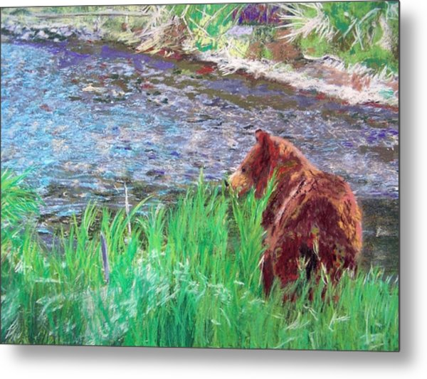 082714 Black Bear Pastel Metal Print