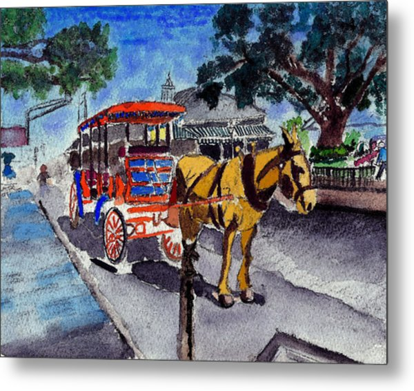 090514 New Orleans Carriages Watercolor Metal Print