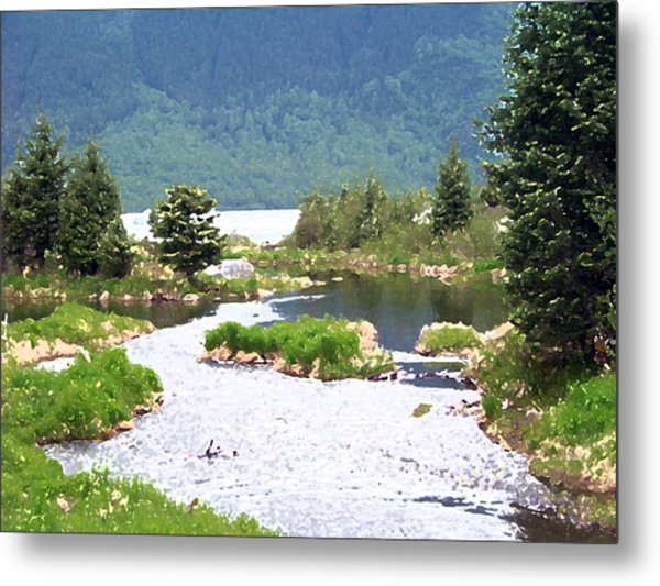 092014 Water Color Alaskan Wilderness Metal Print