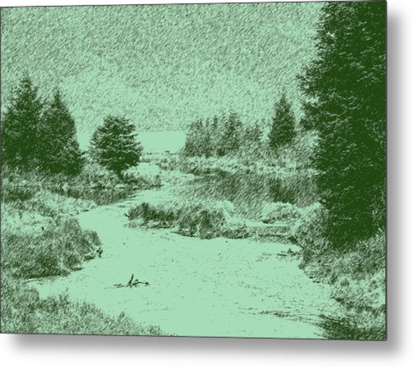 092214 Digital Pen Drawing Alaska Metal Print