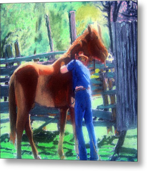 092814 Louisiana Cow Boy Metal Print