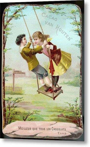 A Boy And A Girl Swing  Together Metal Print by Mary Evans Picture Library