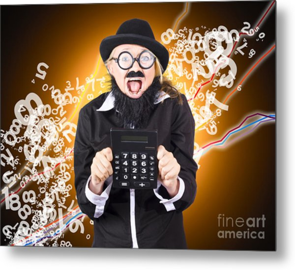 Businessman Showing Financial Investment Gain Metal Print