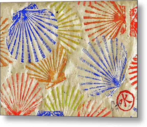Gyotaku Scallops - Bivalvify - Seafood Melody Metal Print