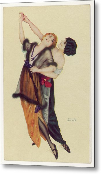Two Stylishly Dressed Ladies  Dance Metal Print by Mary Evans Picture Library