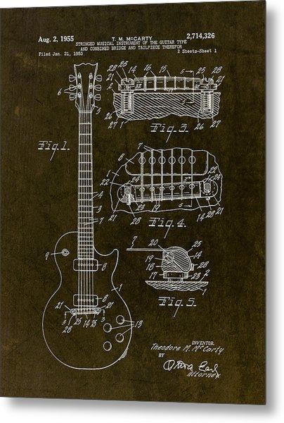 1955 Gibson Les Paul Patent Drawing Metal Print