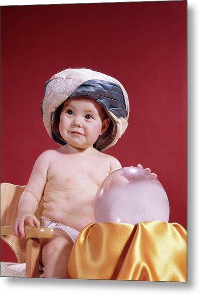 1960s Baby Fortune Teller Wearing Metal Print